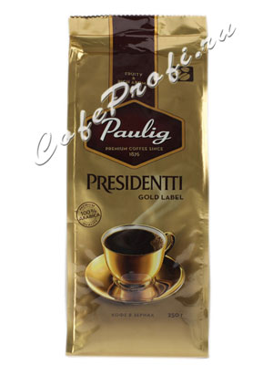 Кофе Paulig (Паулиг) Presidentti Gold Label в зёрнах 250 г